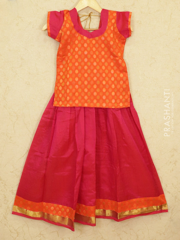 Silk cotton pavadai sattai pink and orange with woven blouse and zari border for 9 years