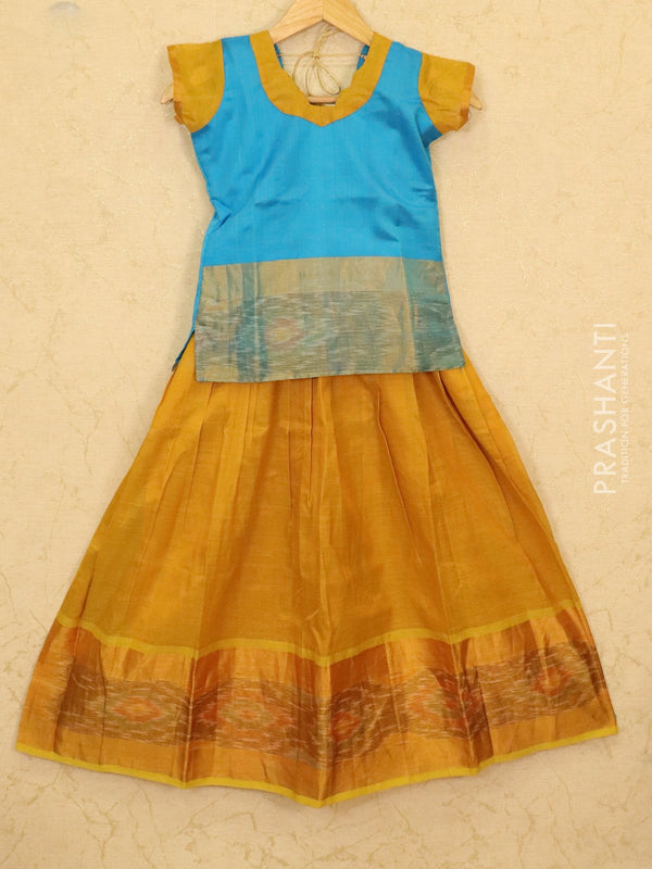 Silk cotton pavadai sattai mustard and blue with ikat woven blouse and zari border for 9 years