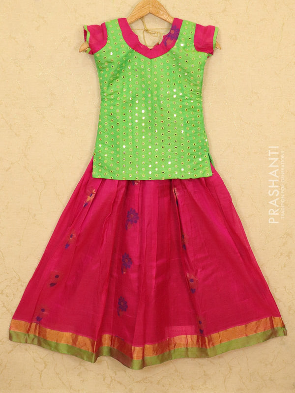 Silk cotton pavadai sattai pink and green with mirror embroided blouse and zari border for 10 years