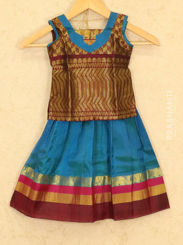 Silk cotton pavadai sattai peacock blue and maroon with zari woven blouse and zari border for 2 years