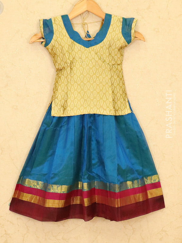 Silk cotton pavadai sattai peacock blue and gold with zari woven blouse and zari border for 4 years
