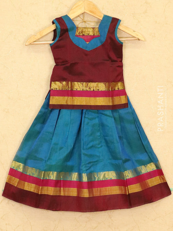 Silk cotton pavadai sattai peacock blue and maroon with plain blouse and zari border for 3 yrs