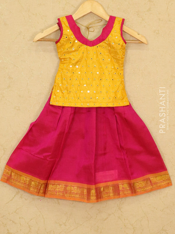 Silk cotton pavadai sattai pink and yellow with mirror embroided blouse and zari woven border for 3 yrs