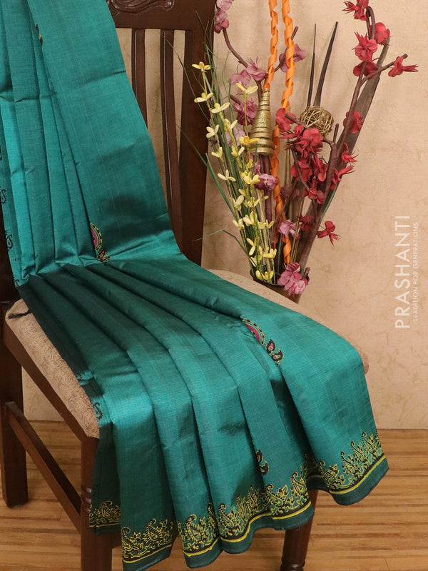 Silk cotton block printed saree green shade with butta prints and piping border