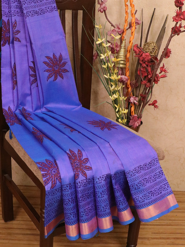 Silk cotton block printed saree dual shade of blue with floral prints and zari border