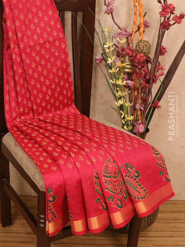 Silk cotton block printed saree red with allover prints and simple zari border