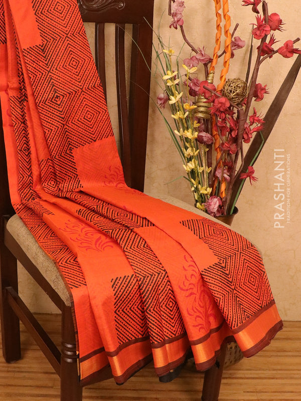 Silk cotton block printed saree orange and black with geometric prints and simple zari border