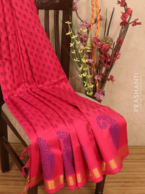 Silk cotton block printed saree pink with allover prints and zari woven border