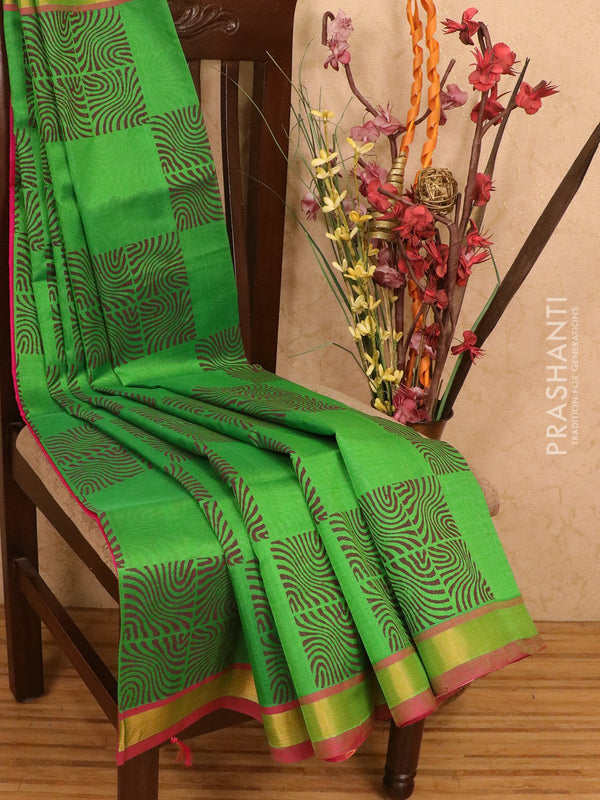 Silk cotton block printed saree green and pink with box type buttas and zari woven border