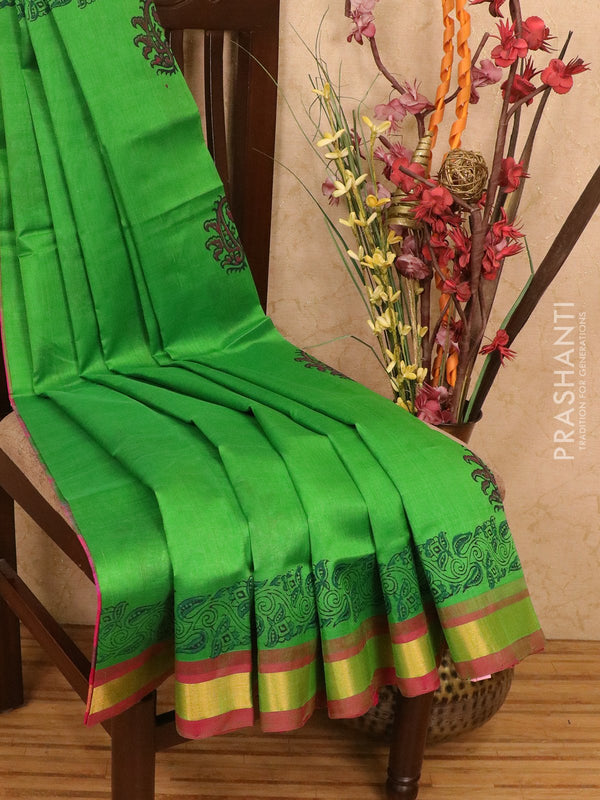Silk cotton block printed saree green and pink with floral prints and zari woven border