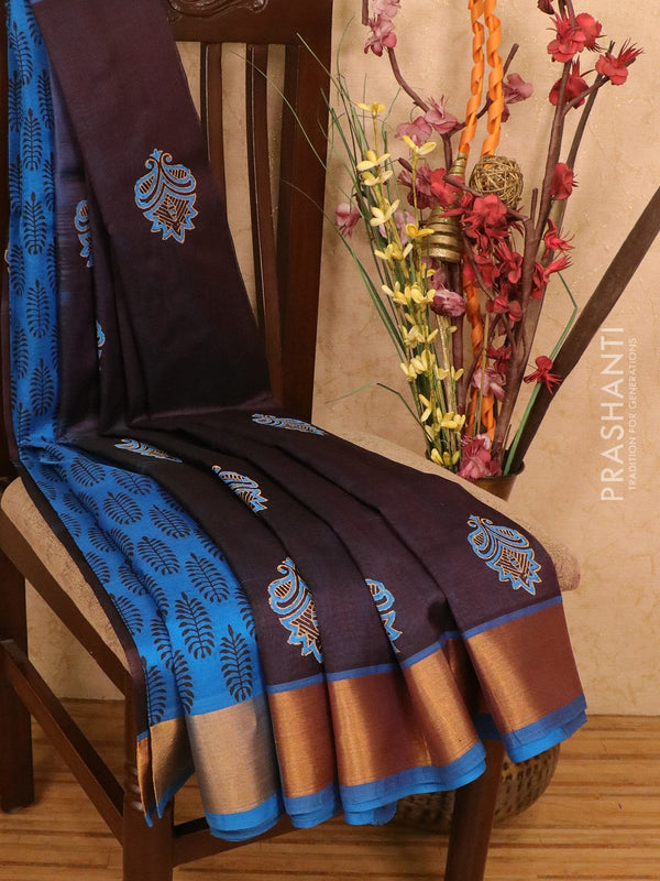 Silk cotton block printed partly saree deep blue and cs blue with floral prints and zari woven border