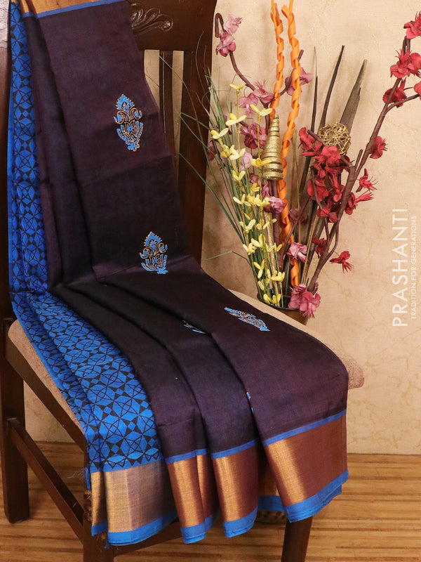 Silk cotton block printed partly saree navy blue and cs blue with simple prints and kaddi zari border