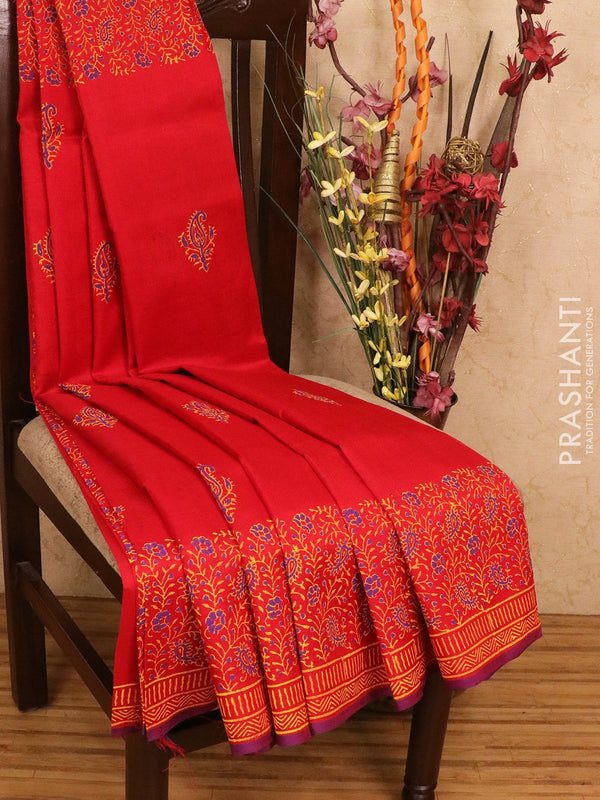 Silk cotton block printed saree red with floral prints and printed border