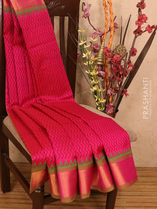 Silk cotton block printed saree pink and lime green with allover prints and zari woven border