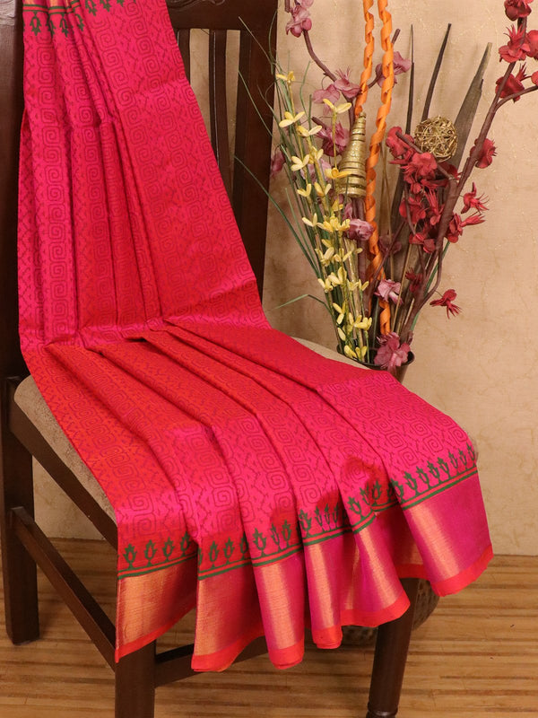 Silk cotton block printed saree dual shade of pink with allover prints and zari woven border