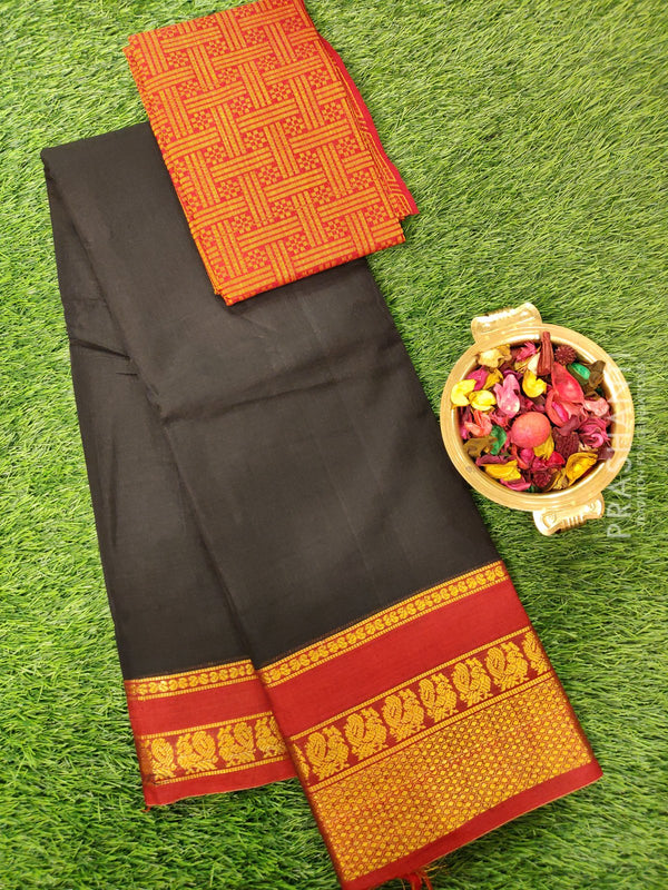 Narayanpet cotton saree black and maroon with cotton woven blouse