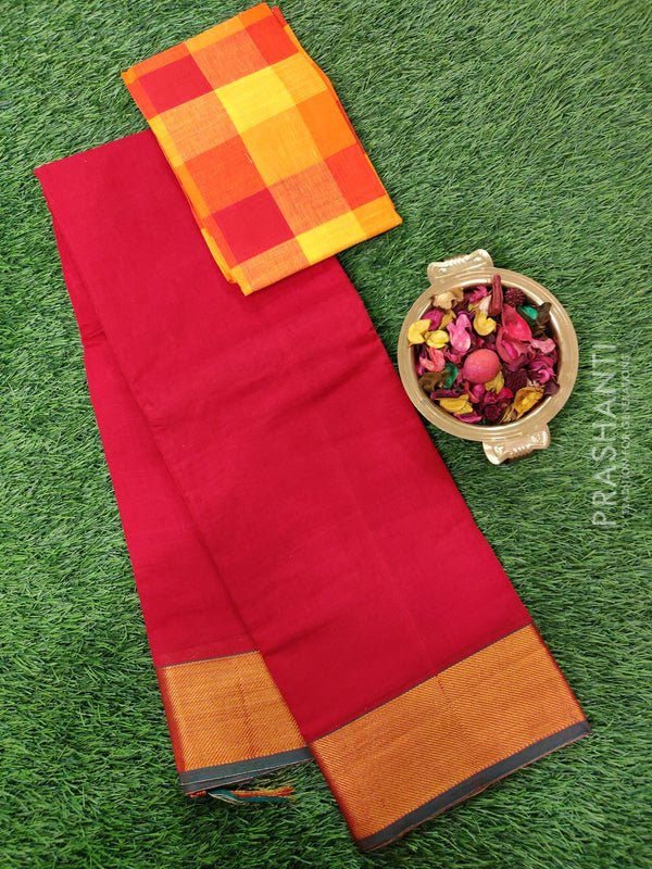 Narayanpet cotton saree red and green with cotton woven blouse