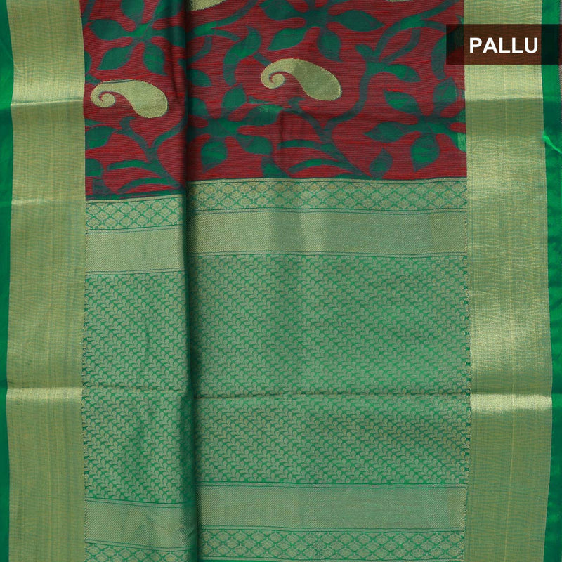 Mercerised Cotton Saree Green and Maroon with Paisely Design