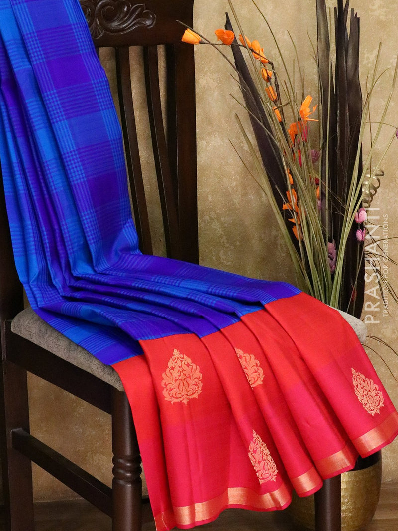 Pure Kanjivaram silk saree blue violet and pink with checked pattern and golden zari floral butta border