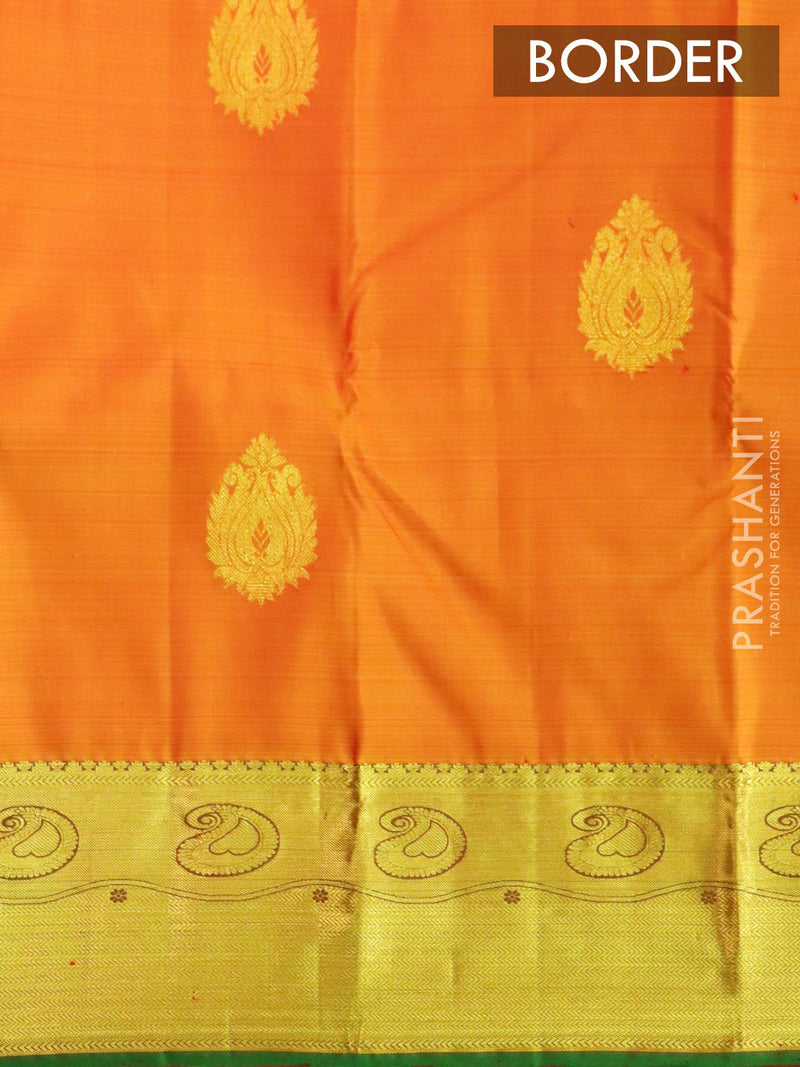 Pure Kanjivaram silk saree golden yellow and green with traditional zari woven border and zari buttas