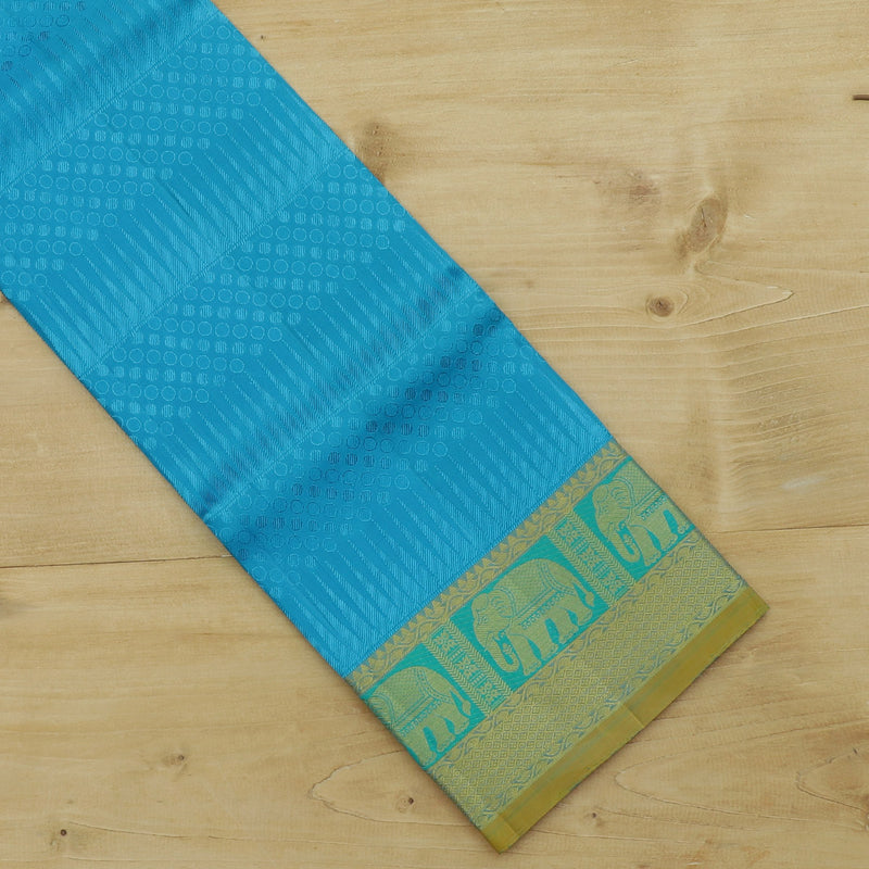 Pure silk pavadai material copper sulphate blue with golden zari elephant border for 6 to 10 years