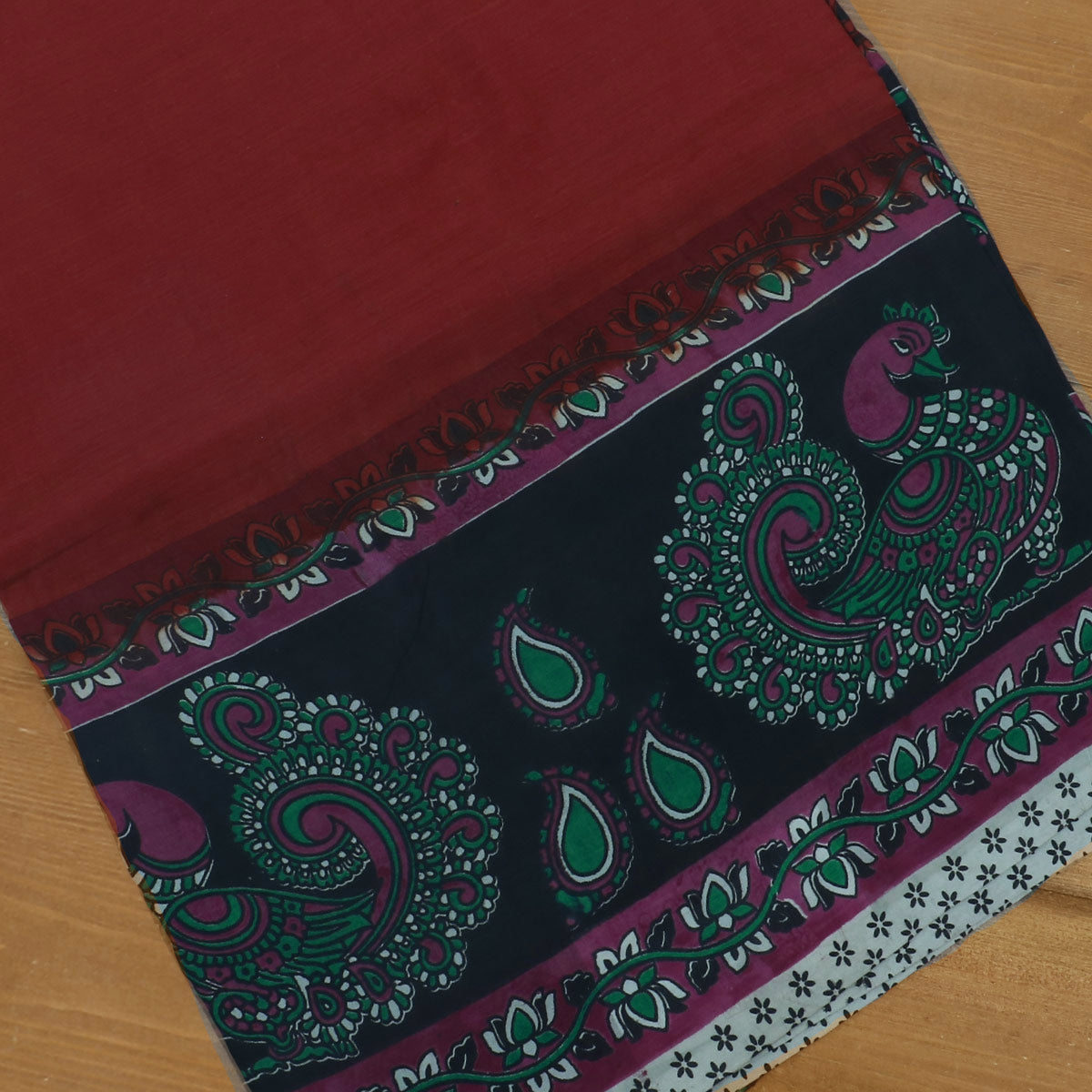 Semi Silk Pure Kalamkari saree - Brown and Black with annapakshi border