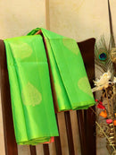 Pure Soft silk saree lime green and pink with zari buttas in borderless style for Rs.Rs. 8840.00 | by Prashanti Sarees