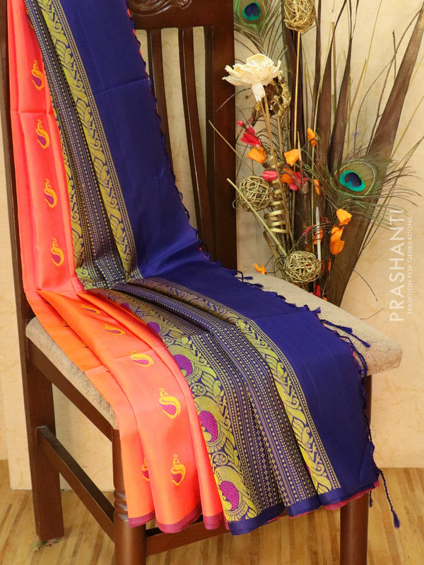 Pure Soft silk saree peach and navy blue with thread buttas and borderless style