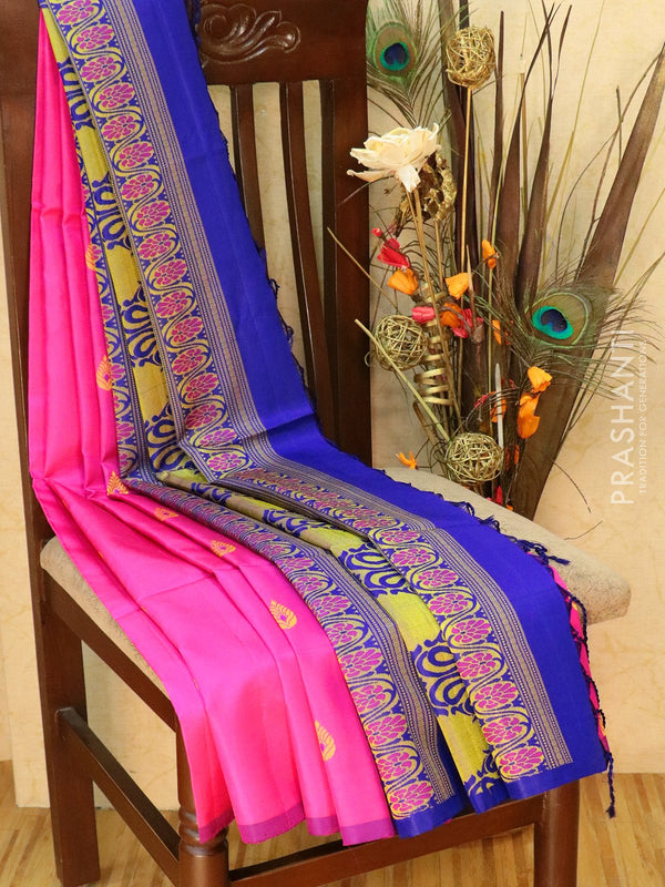Pure Soft silk saree pink and royal blue with thread buttas and borderless style