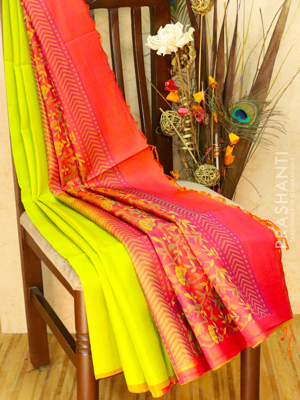 Pure Soft silk saree lime green and peachish pink with floral thread pallu in jute finish