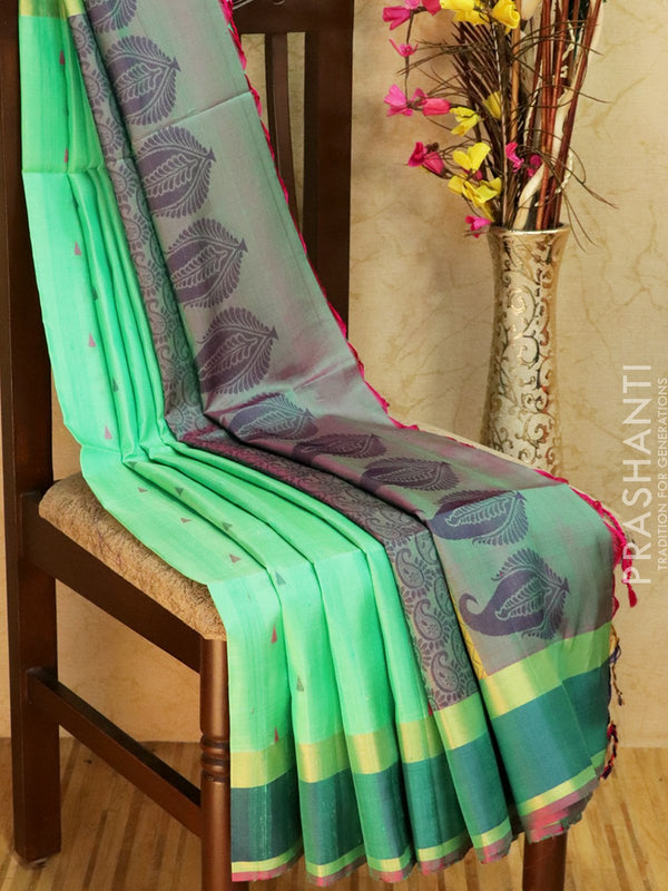 Pure Soft silk saree green and blue with thread pallu in jute finish