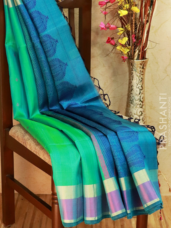 Pure Soft silk saree teal blue and blue with thread pallu in jute finish