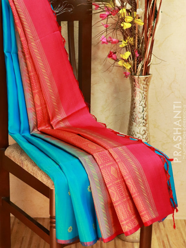 Pure Soft silk saree cs blue and pink with thread butta in borderless style in jute finish