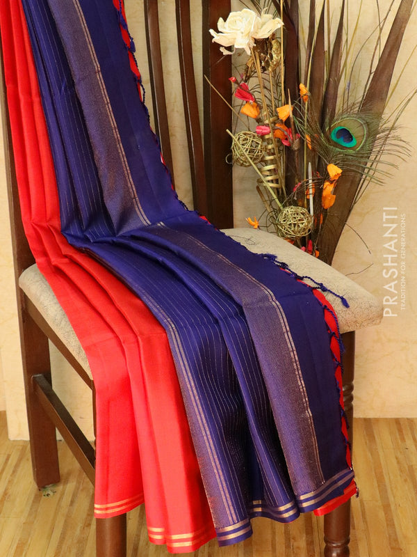 Pure Soft silk saree red and navy blue with plain body and zari lines pallu