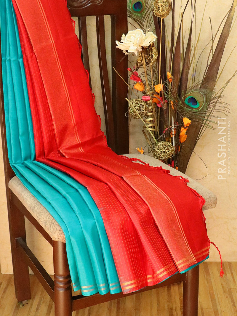 Pure Soft silk saree teal blue and red with plain body and zari lines pallu