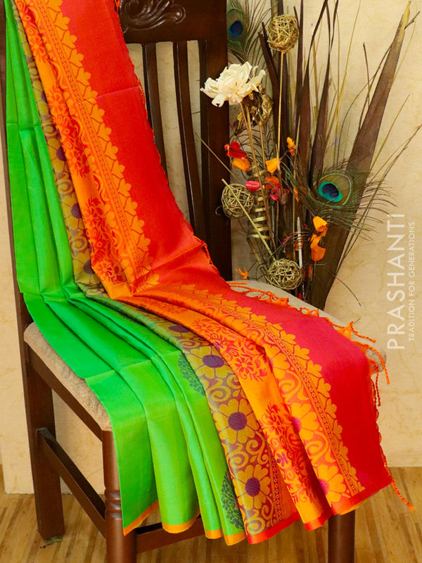 Pure Soft silk saree pista green and pinkish orange with thread butta in borderless style
