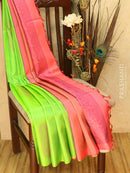 Pure Soft silk saree green and peach with paisley thread butta and rich pallu