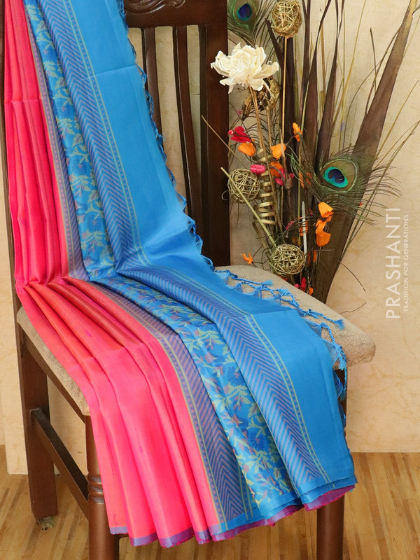 Pure Soft silk saree pink and CS blue with floral thread pallu in jute finish