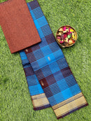 Chettinad cotton saree blue and coffee brown with thread woven border and woven blouse
