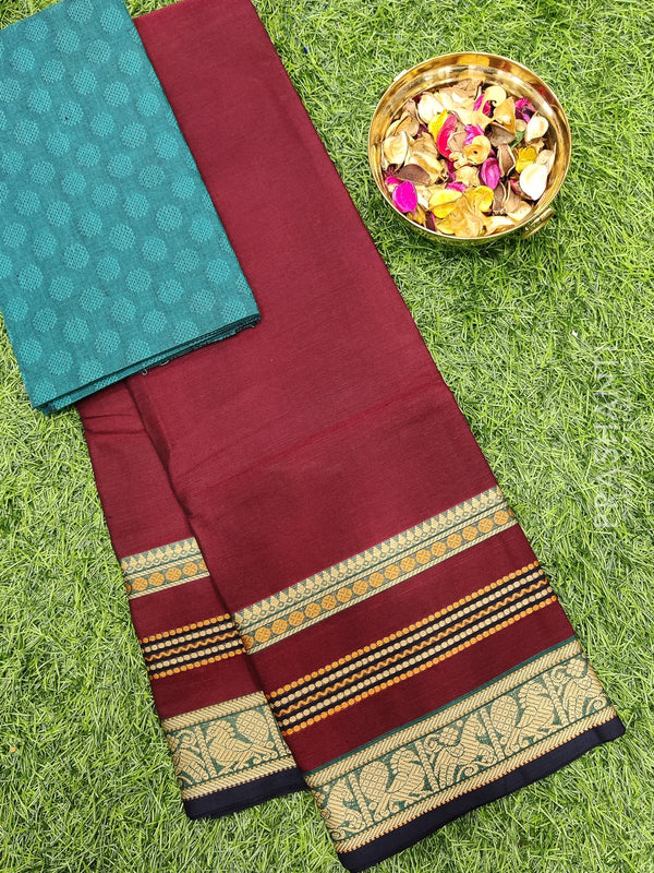 Chettinad cotton saree maroon and navy blue with thread woven border and woven blouse