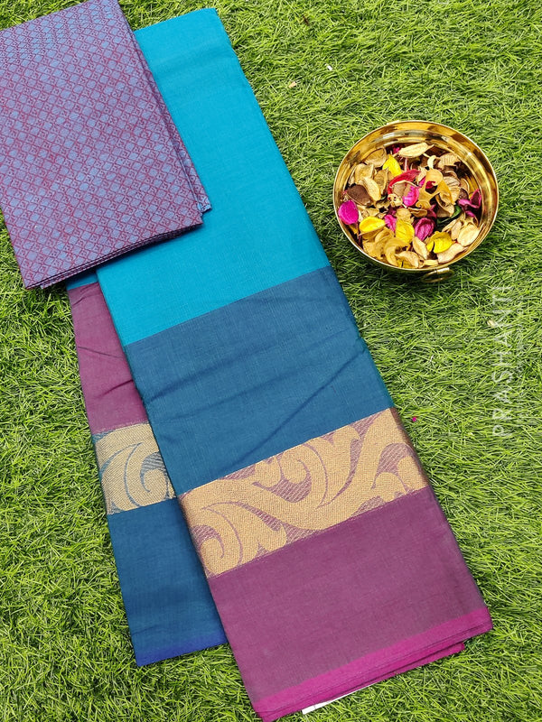 Chettinad cotton saree blue with thread woven border and woven blouse