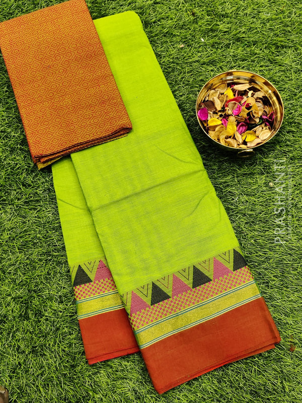 Chettinad cotton saree green and rust with thread woven border and woven blouse