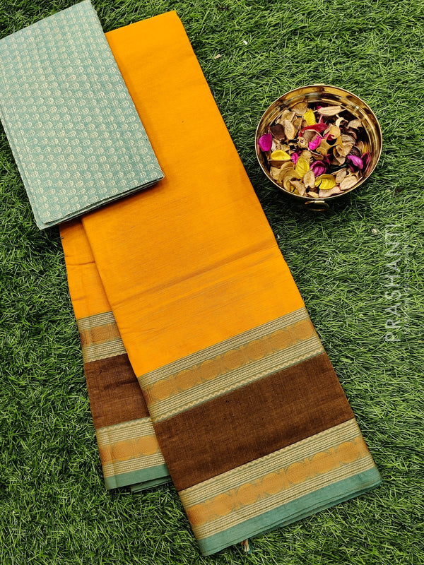 Chettinad cotton saree yellow and green with thread woven border and woven blouse