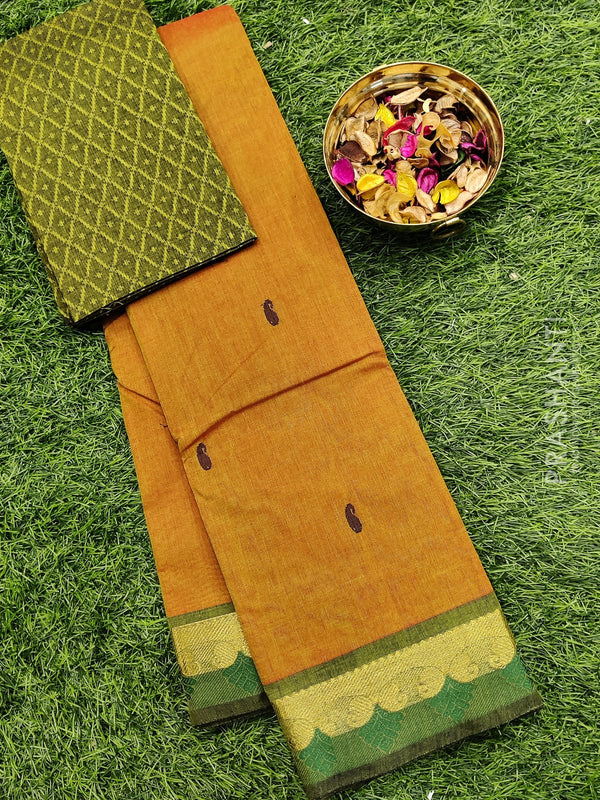 Chettinad cotton saree honey and green with thread woven border and woven blouse