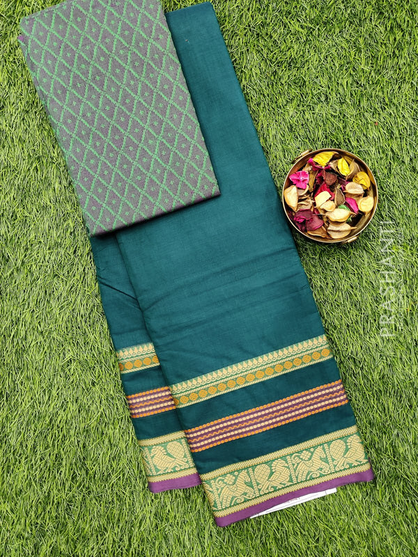 Chettinad cotton saree green with thread woven border and woven blouse