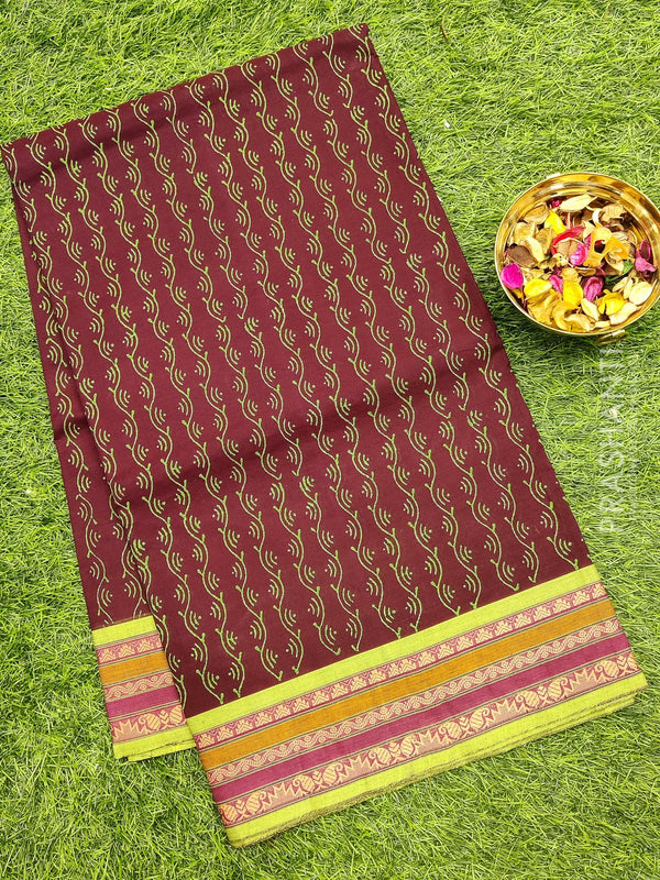 Chettinad cotton saree brown and green with thread woven border and block prints without blouse