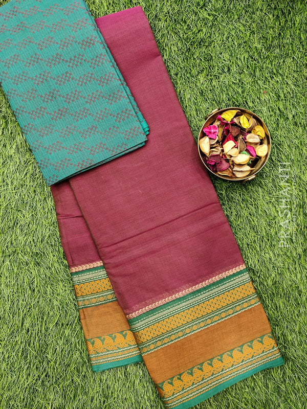 Chettinad cotton saree dual shade of magenta and green with thread woven border and woven blouse