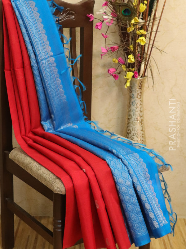 Kora silk cotton saree red and cs blue with zari buttas and rich pallu