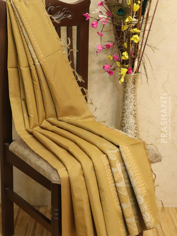 Kora silk cotton saree pastel shade of brown with zari buttas in borderless style