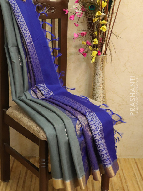Kora silk cotton saree grey and blue with zari buttas and simple zari border